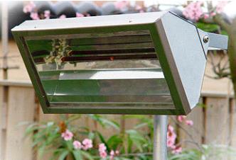 terrasverwarmer met glasafscherming