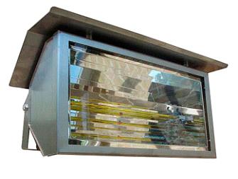 terrasverwarmer met glasafscherming en regenkap